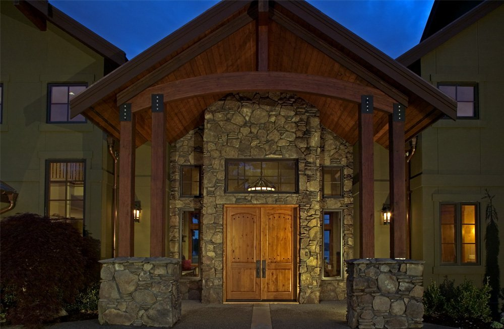 Stone entryway in waterfront home