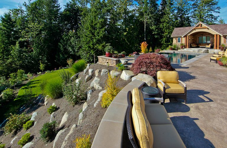 Landscaping with retainer wall and pool