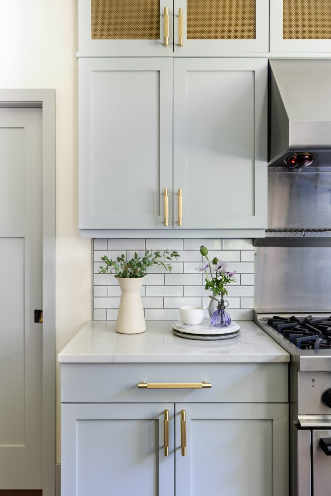Pale gray cupboards