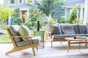 An outdoor furniture set; hiring a designer
